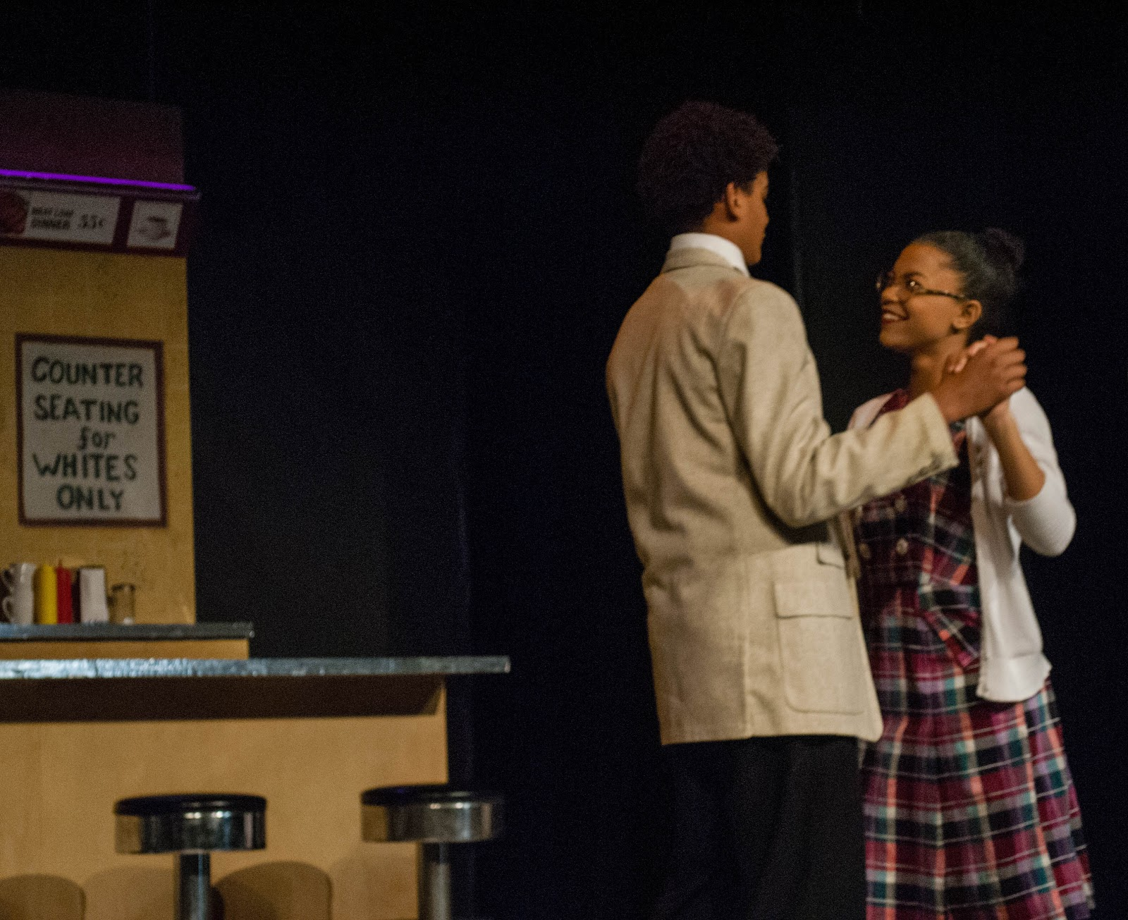 "Michael Seye, left, is Eugene and Arianna Richardson is Deidre in ""Periphery."" Photo by Brandon General"