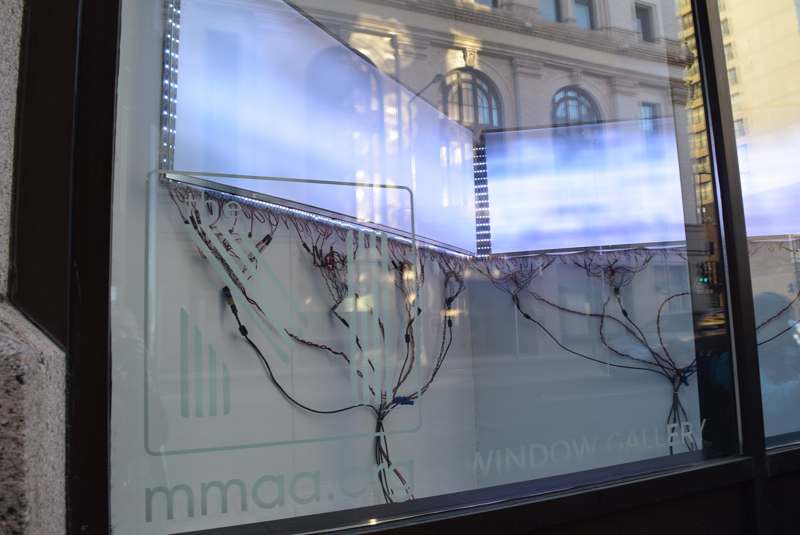 "David Bowen's installation ""Wave Line"" in The M's Window Gallery on Robert Street in downtown St. Paul. The artwork was commissioned by the museum."
