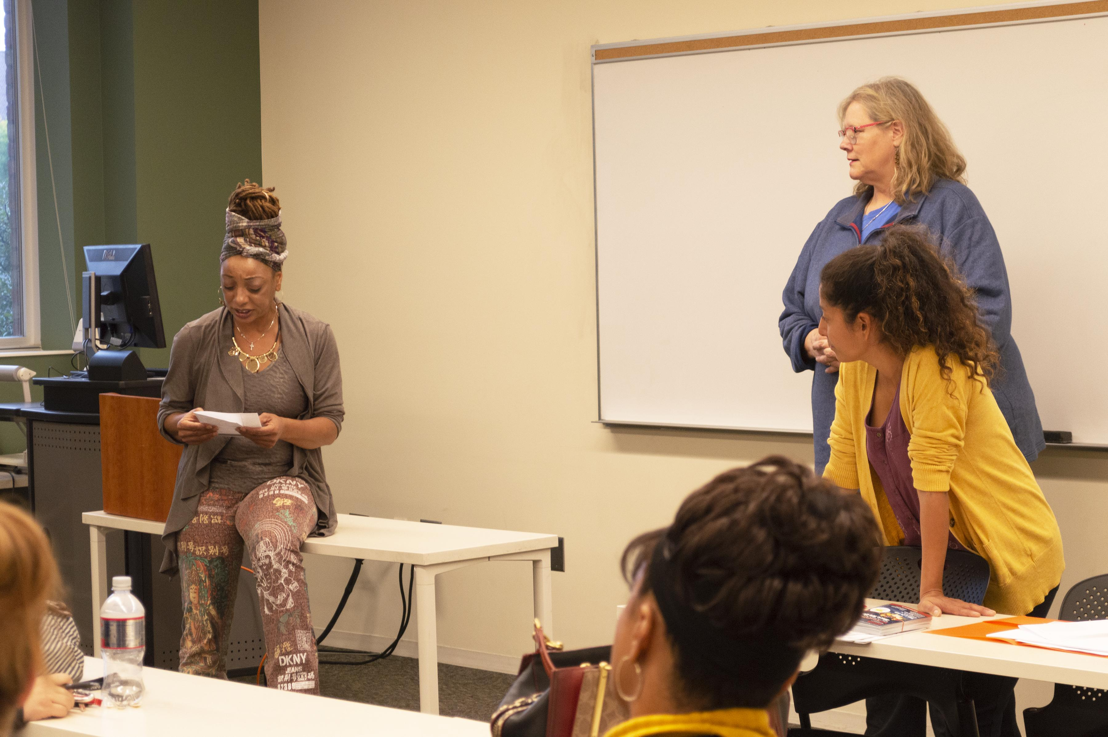 "Students from the Masters in Advocacy and Political Leadership program read monologues from the play ""Escaped Alone"" on September 13. Students used the readings to discuss their own reactions and feelings about the themes expressed. (Mandy Hathaway / The Metropolitan)"