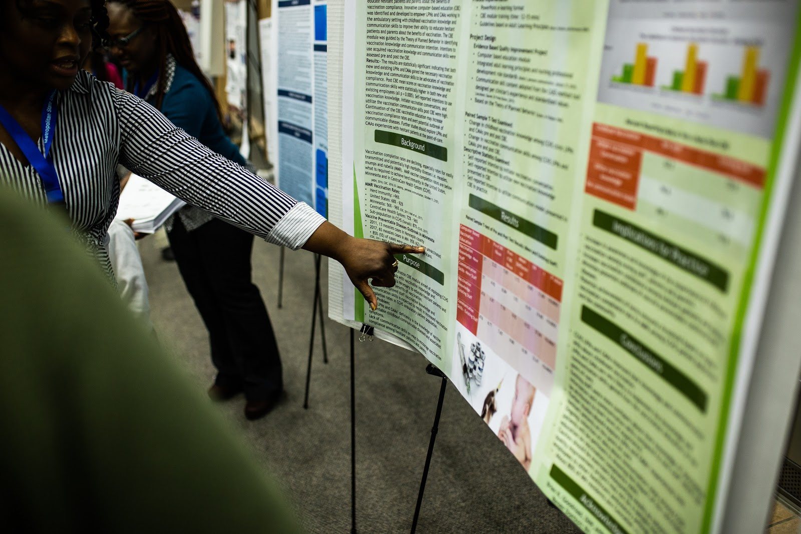 Doctoral nursing student Ijeoma Ugochukwu's research on increasing vaccination knowledge and skills. She was the runner-up for best overall poster at the 2018 Student Poster Conference.  Photo by Eli Bartz