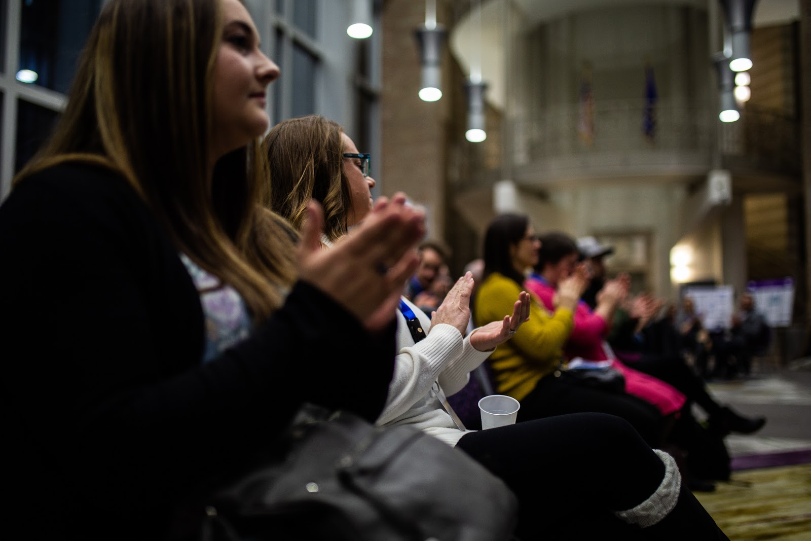 The audience applauds award-winning students in New Main Great Hall. Photo by Eli Bartz