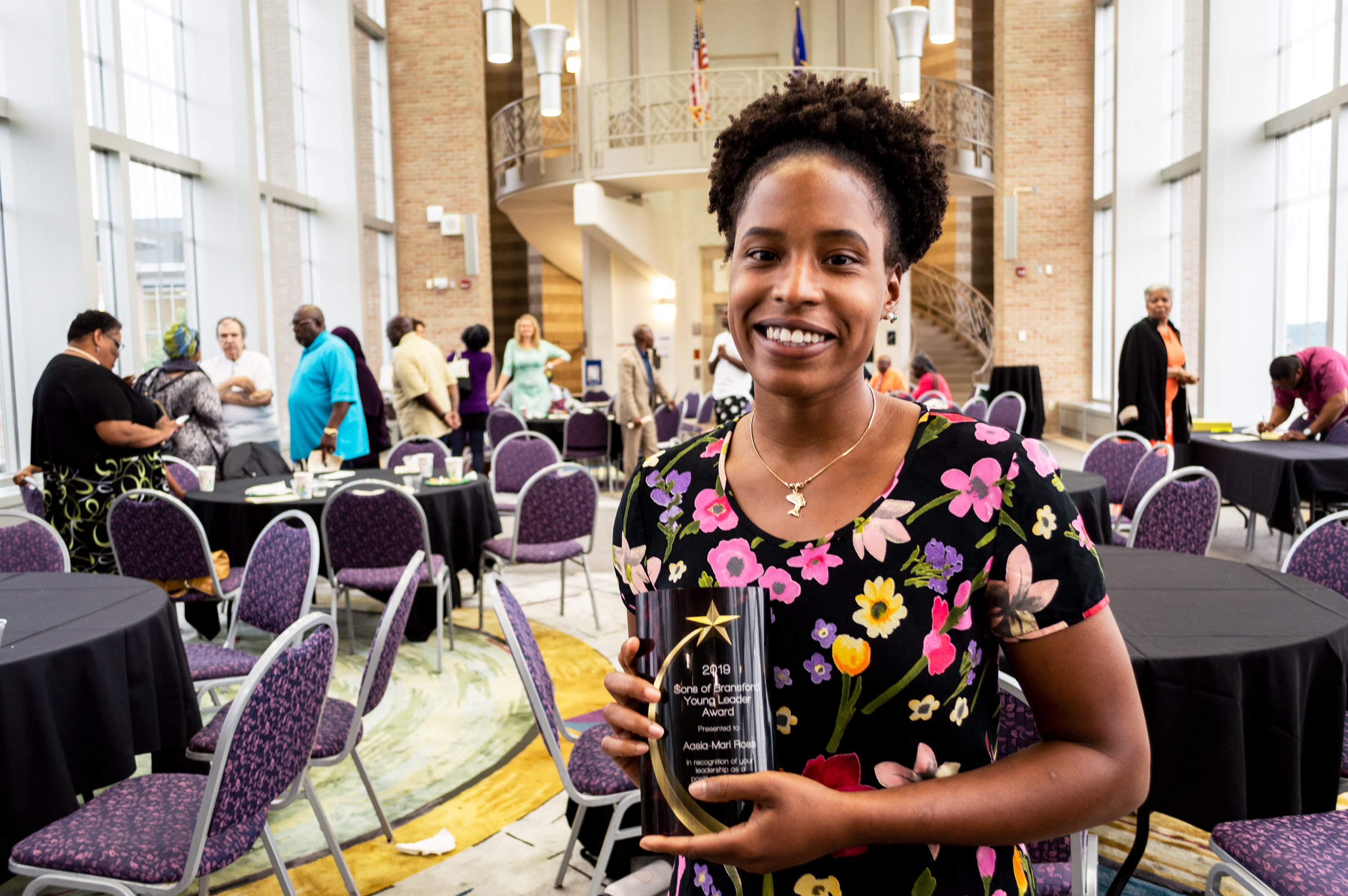 Aasia-Mari Ross poses with her Young Leader Award after the 2019 Sons of Bransford awards ceremony. (Mandy Hathaway / The Metropolitan)